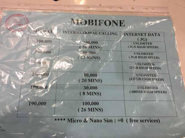プリペイドSIMカードの料金表