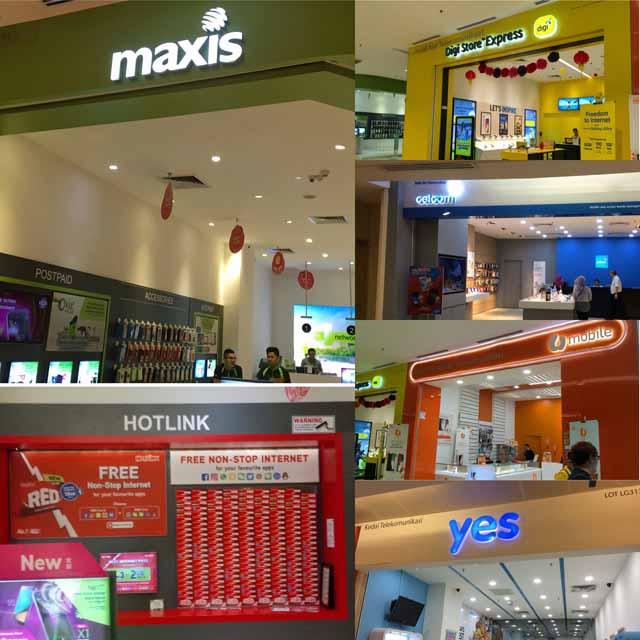 マレーシアでプリペイドSIMカードを提供している携帯キャリア