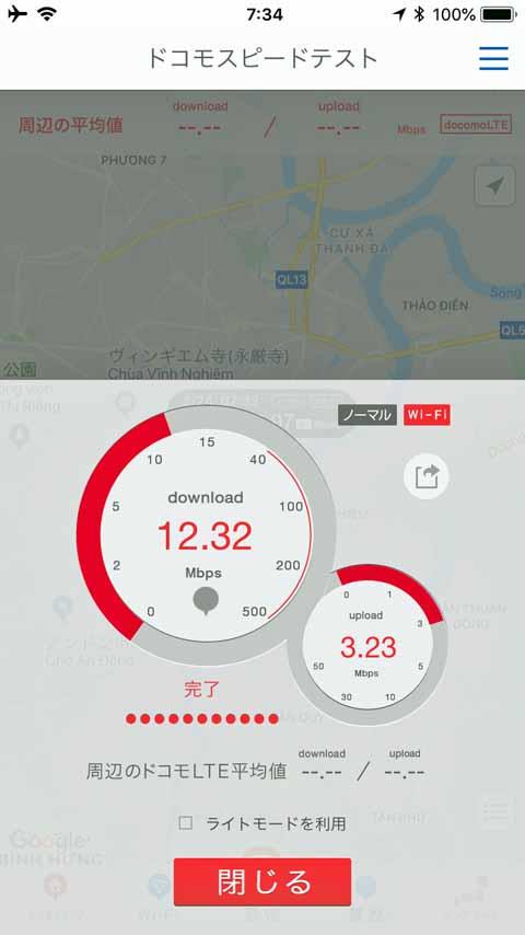 データ通信の速度測定結果