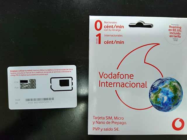 VodafoneのプリペイドSIMカード