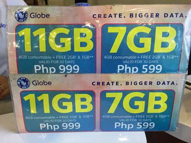「GLOBE」のSIMカード価格表